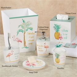 Flamingo Fever Lotion Soap Dispenser White