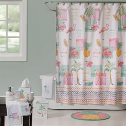 Flamingo Fever Shower Curtain White 70 x 72