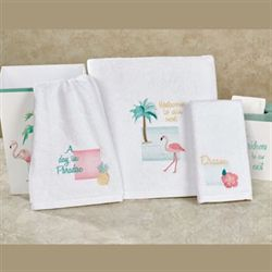 Flamingo Fever Bath Towel Set White Bath Hand Fingertip