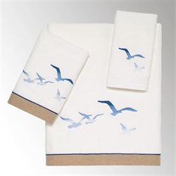 Seagulls Bath Towel Set Ivory Bath Hand Fingertip
