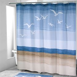 Seagulls Shower Curtain Blue 72 x 72