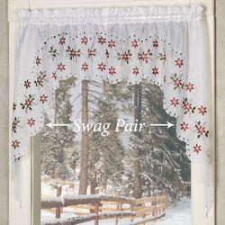 Poinsettia Cutwork Swag Valance Pair White 56 x 38