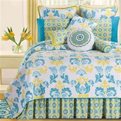 Delilah Blue Quilt White