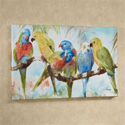 Parrots Chat Canvas Art Multi Bright