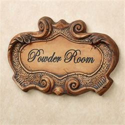Powder Room Scroll Wall Plaque Saddle Brown