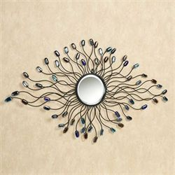 Blue Jewels Mirrored Wall Art Black