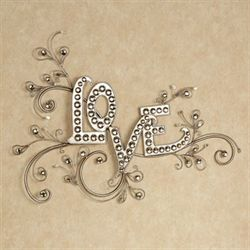 Sparkling Love Word Wall Art Platinum