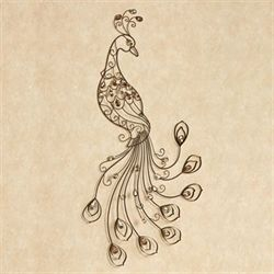 Bejeweled Peacock Metal Wall Art Brown