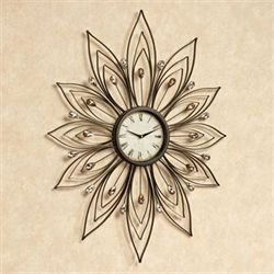 Bejeweled Metal Wall Clock Brown
