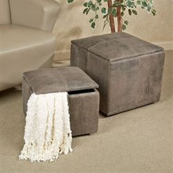 Nexus Storage Ottoman Set Dark Gray Set of Two