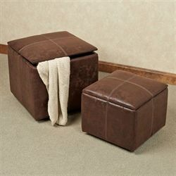 Nexus Storage Ottoman Set Light Chocolate Set of Two