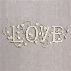 Blooms of Love Word Wall Art Ivory/Gold