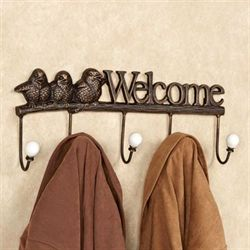 Welcome Birds Cast Iron Wall Hook Rack Antique Bronze