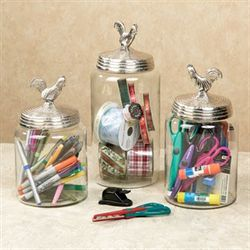 Silver Rooster Canister Set Set of Three
