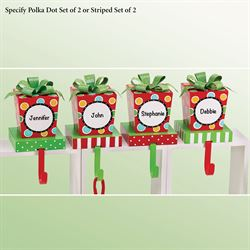 Polka Dot Jingle Stocking Holders Green Set of Two