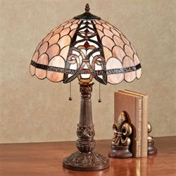 Xamurra Stained Glass Table Lamp Coral Pink Each with CFL Bulbs