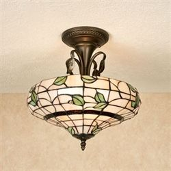 Vining Foliage Stained Glass Ceiling Light Cream