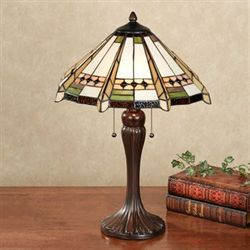 Wendelle Stained Glass Table Lamp Ivory Each with CFL Bulbs