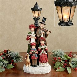 Carolers Lighted Holiday Figurine Red