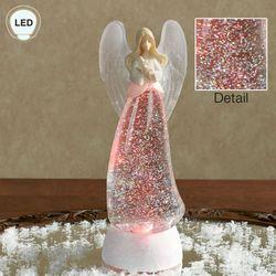 Swirl Angel LED Lighted Glitterdome Off White