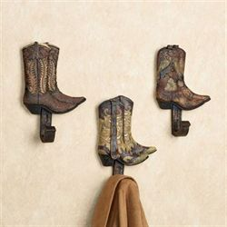 Cowboy Boot Hook Set Dark Brown Set of Three