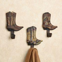 Cowboy Boot Hook Set Dark Brown Set of Three