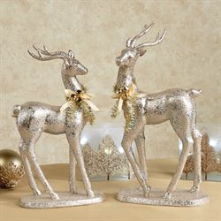 Forestyne Deer Figures Burnished Gold Set of Two