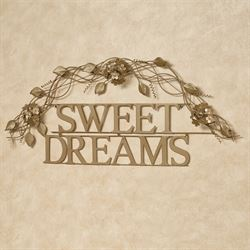Sweet Dreams Word Wall Art Satin Gold