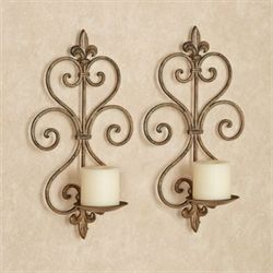 Charles Wrought Iron Wall Sconce Pair