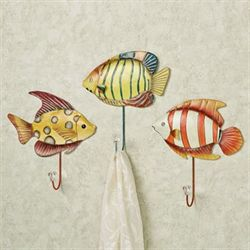 Trio of Fish Wall Hook Set Multi Bright Set of Three