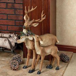 Standing Buck Deer with Fawn Sculpture Brown