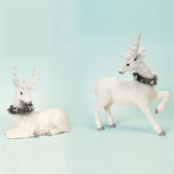 Glitter Sisal Holiday Deer Figures White Set of Two