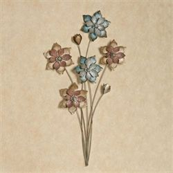Evening Flowers Metal Wall Art Multi Pastel