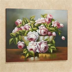 Bowl of Roses Canvas Art Multi Pastel