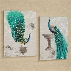 Peacock Fanfare Canvas Wall Art Set Multi Jewel Set of Two