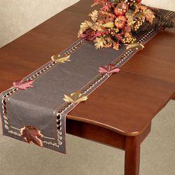 Falling Leaves Long Table Runner Brown 16 x 72