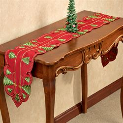 O Christmas Tree Long Table Runner Red 9 x 60