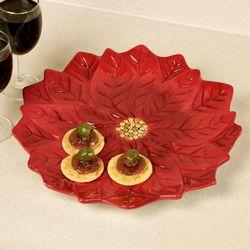 Botanical Christmas 3D Poinsettia Platter Red