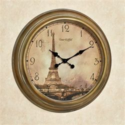 Monument de Paris Wall Clock Harvest Gold