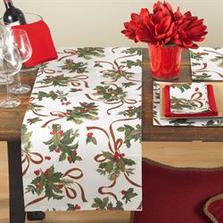 Fete de Noel Holly Table Runner Ivory