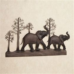 Elephant Metal Wall Art Brown