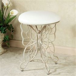 Butterfly Grace Cushioned Vanity Stool Whitewash