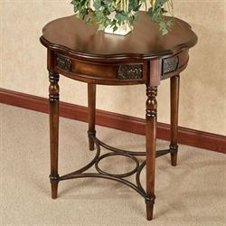 Marianne Round Accent Table Regal Walnut