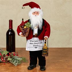 Wine Steward Santa Figure Red