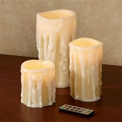 Laelia LED Heavy Drip Candle Tan