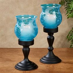 Antioch Candleholder with LED Candle Blue Set of Two