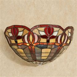 Roses Cordless Stained Glass Wall Sconce Multi Jewel