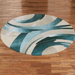 Perfect Storm Round Rug Blue