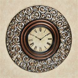 Giovanni Scrolling Wall Clock Pewter