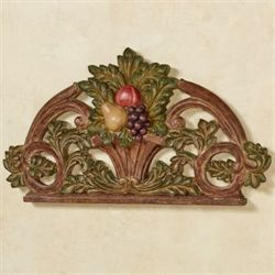 Fruit in Urn Arched Wall Plaque Brown
